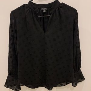 ANN TAYLOR FACTORY BLACK POLKA DOT BLOUSE!
